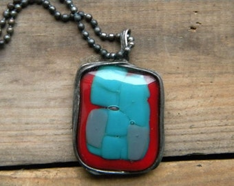 MULTICOLOR - fused glass pendant, fused glass necklace,statement necklace
