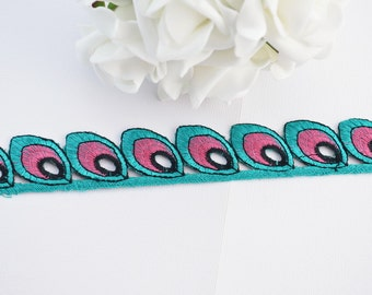 Lace Trim, Embroidered Lace, Embroidery Lace Trim, Indian Border, Indian Trim, Geometric, Paisley, Turquoise Green, Pink, Black - 1 meter