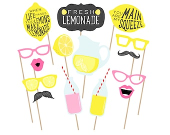Printable Lemonade Stand Photo Booth Props - Lemonade Photobooth - Lemonade Props - Lemonade Party Printables - Lemonade Birthday Party