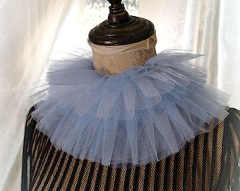 Elizabeth White Blue Silk Tulle Ruff Neck High Collar Detachable Victorian Rococco Neckpiece Choker Necklace Gothic Goth steampunk