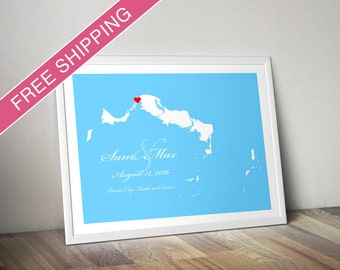 Custom Location and Map Print - Turks and Caicos - Personalized Wedding Gift - Wedding Guest Book Poster - Housewarming Gift