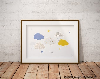 Poster clouds with geometric patterns - customizable - gilding - color-decoration - child - room