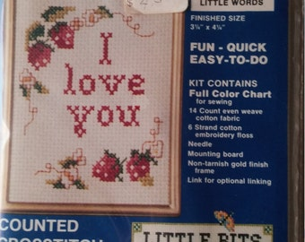 Needles 'N Hoops  Three Little Words Counted Cross Stitch Kit ~ New in Package