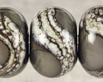Organic Lampwork Glass Bead Set of 6 Handmade with Silvered Ivory Web Small, 6 Glossy 11x7mm Dark Gray