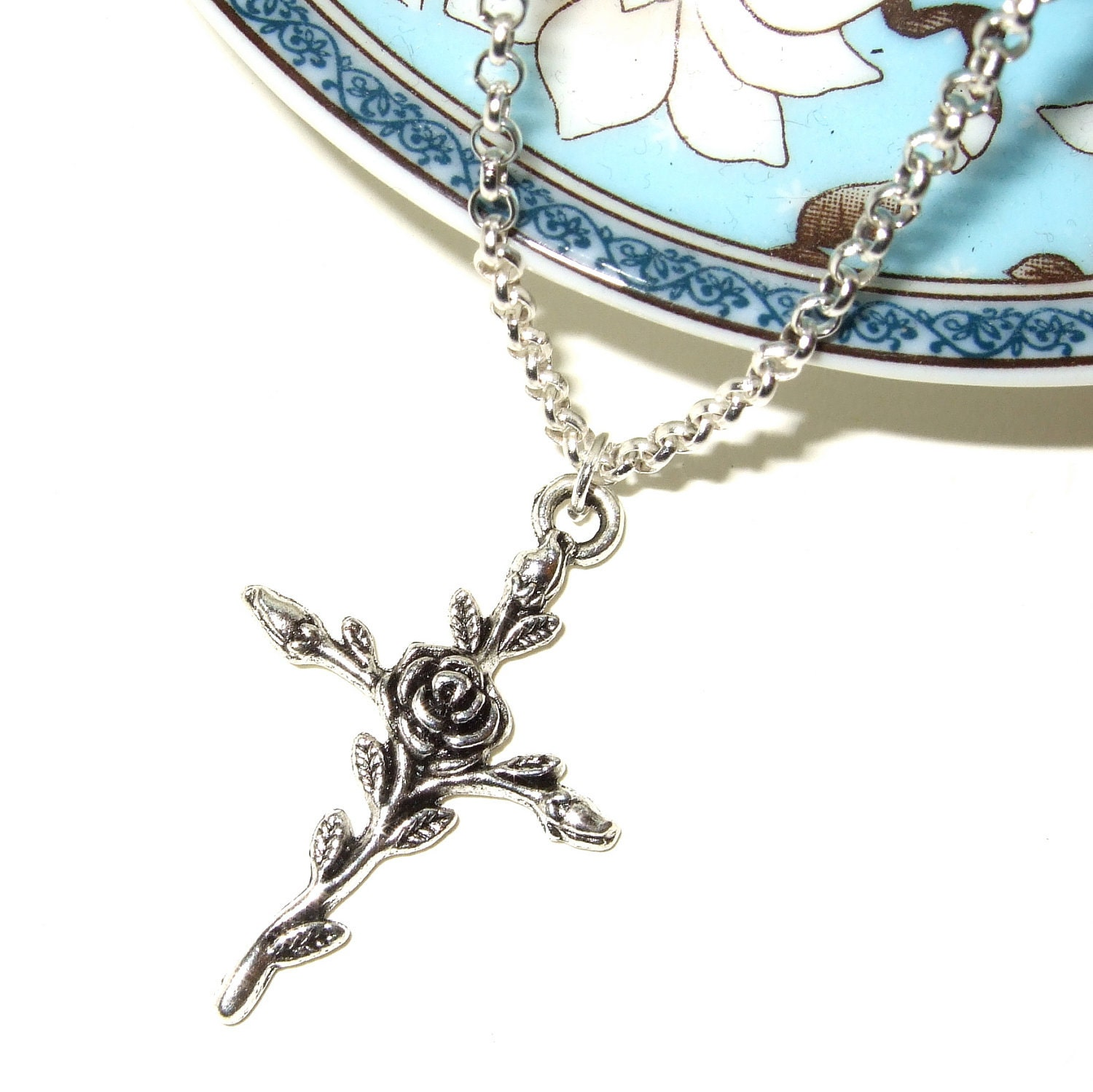 Rose cross necklace images rose cross necklace images rose cross necklace crucifix pendant silver cross simple jpg aloadofball Image collections