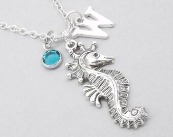Seahorse monogram necklace   seahorse necklace   seahorse pendant   personalised seahorse necklace   seahorse jewelry   birthstone