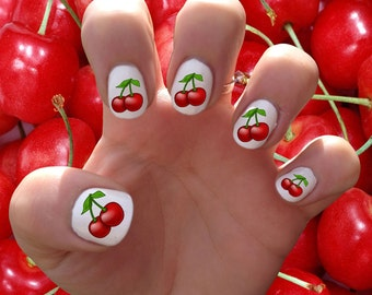 Cherry // Cherries // Berry // Summer // Nail Decals Transfer Nail Stickers // Sprinkles // Pink // Red
