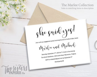 She Said Yes Engagement Party Invitation - MARLEE Collection - She Said Yes Invitation - Engagement Party Invitation - Simple Engagement