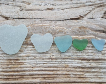 Heart Shaped Sea Glass from the Baltic Sea - 5 Heart Shaped Glass Pieces -Beach Find-Genuine Beach Glass