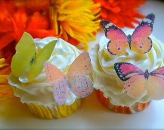 EDIBLE Butterflies The Original - 12 Small Yellow and Orange - Cake & Cupcake toppers -PRECUT and Ready to Use