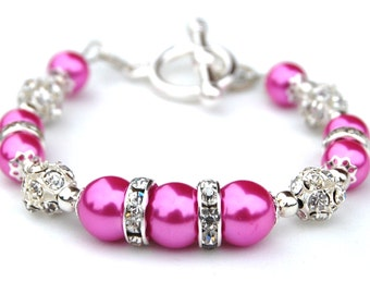 Hot Pink Pearl Bracelet, Bridesmaid Jewelry, Pink Wedding, Spring Wedding, Bridesmaid Gifts