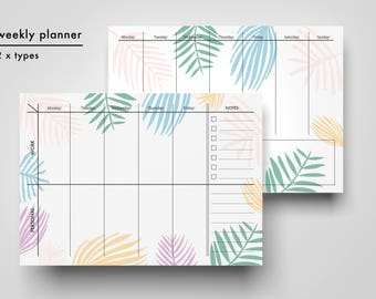 Daily organiser and weekly planner, download, pdf, 3 designs