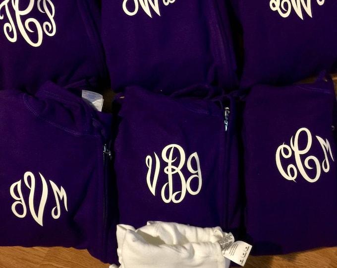11 bridesmaid hoodies- monogram hoodies - monogram zip ups with hoods . Hooded bridesmaid sweatshirts - bridal party cotton hoodies