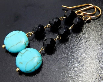 Turquoise, Black Earrings, Onyx and Gold Vermeil, Long Coin Drops