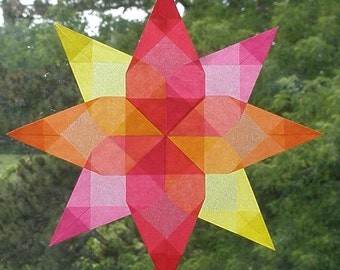 4 Color Summer Window Star with Floral Center - Intricately Folded Autumn Suncatcher - Made in the United States U.S.A. Gift - Waldorf Art