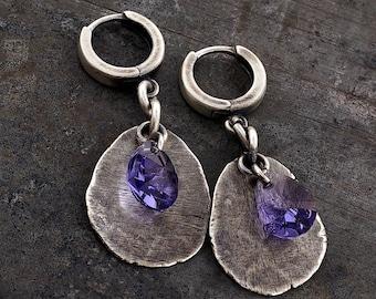 Swarovski crystal earrings • raw silver  • light purple earrings  • 925 sterling silver hammered silver