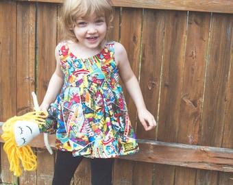 SUPER HERO girls Dress: girls cotton dress, Comic book dress, custom dress,Marvel dress,  toddler dress, baby doll dress, twirl dress