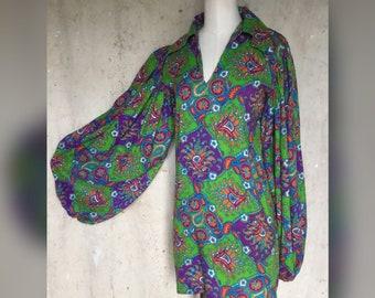 Vintage 1960s Psychadelic Mini Dress Carnaby Street