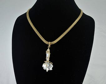 Wire wrapped baroque pearl gold filled flat wheat chain necklace