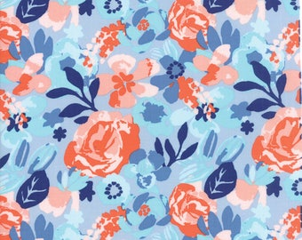 VOYAGE - Kew in Cloud Blue - Beautiful Orange Pink Floral Cotton Quilt Fabric - 27281-14 - Kate Spain for Moda Fabrics (W4491)