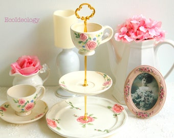 Vintage 3 tier Cake/Cupcake Stand. Shabby Chic/Cottage Cake stand.Pink Roses Tiered Cake Stand .Tea Party, Bridal Shower,Baby shower,Wedding