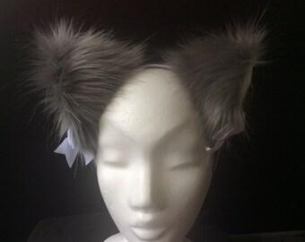 """5"""" Dove Grey kitten play ears"""