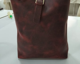 Red Handmade red leather bag,large leather bag,WolWolHD