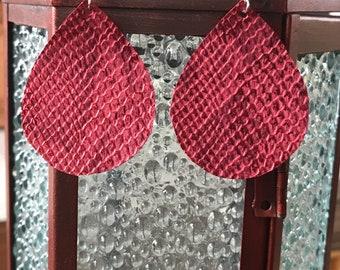 Red Anaconda Teardrop Earrings