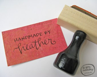Vintage Lettering Handwritten Artist Stamp in red rubber