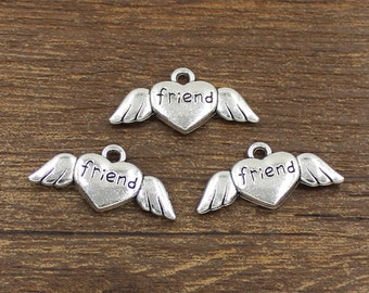 20pcs Friend Winged Heart Charms Antique Silver Tone Double Side 26x13mm - SH286