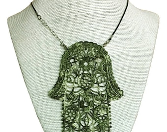 Celtic-Greens Lace Necklace - Unique Look - Hamsa Necklace - Gift Under 30.00 - Irish Style Bib Necklace