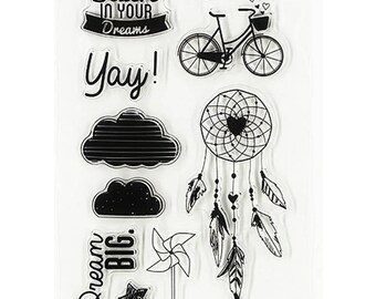 Board of 9 stamps clear stamp dream catcher