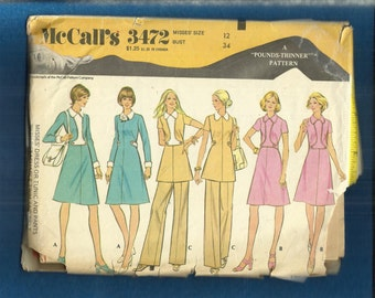 1972 McCalls 3472 Slimming Stewardess Chic A-Line Dress & Tunic Size 12