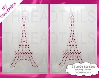 Iron transfer paris etsy two transfers eiffel tower rhinestud or rhinestone iron ons do it yourself hot solutioingenieria Image collections