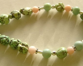 Bracelet with peruvian Opal and Turquoise Nuggets