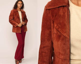Brown Suede Jacket 70s Leather Jacket Bohemian Sienna Brown Coat FAUX FUR LINED Boho Hippie Fitted 1970s Vintage Hipster Extra Small xs