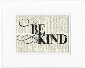 Be Kind - printed on page from vintage dictionary
