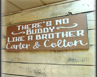 Boys Room Decor - Gift For Boy - Sibling Sign - Nursery Sign - Baby Shower Gift - Gift For Brother - Large Wooden Sign - Personalized Plaque