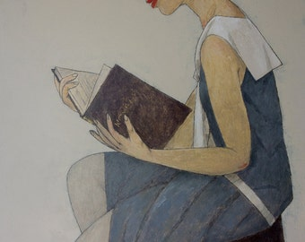 GIRL READING a ROMANCE limited edition print