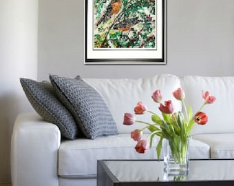 Robin wall art, American Robin wall art, Garden room art, Song Bird art, Bird print, Robins on branch,  Johno Prascak