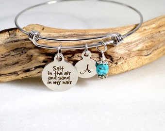 Beach Charm Bracelet - Salt in the Air and Sand in my Hair, Adjustable Bangle, Healing Stone Bracelet, Beach Themed Gift for Ocean Lovers