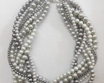 Light grey and dark grey braided twisted chunky statement pearl necklace