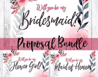 Bridal Party Printable Proposal Card(s)-Warm Floral