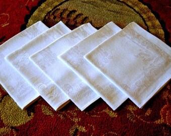 NAPKINS Damask Napkin Set Cream White Set 5 Flowers