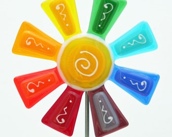 Glassworks Northwest - Brilliant Rainbow Flower Stake - Fused Glass Garden Art