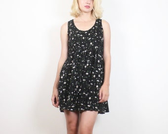 Vintage 1990s Dress Faded Black DAISY Floral Print Mini Dress Babydoll Dress Soft Grunge Daisies 90s Sundress Lolita XS S Small M Medium