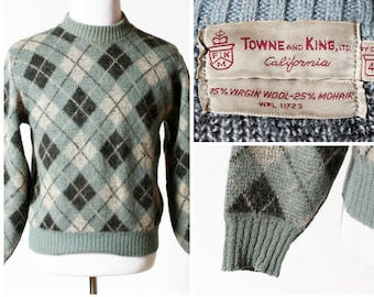Vintage Men's Sweater Wool Argyle - 60's Towne and King Medium M Small S