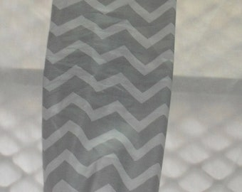 Gray and White Chevron Design Plastic Grocery Bag Holder