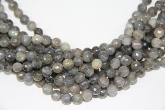 """Labradorite 10mm faceted round beads 16"""" length strand"""