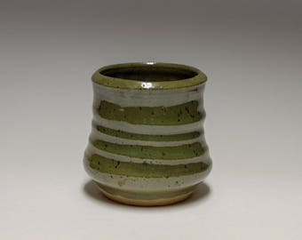 Green Speckled Pottery Tumbler Cup
